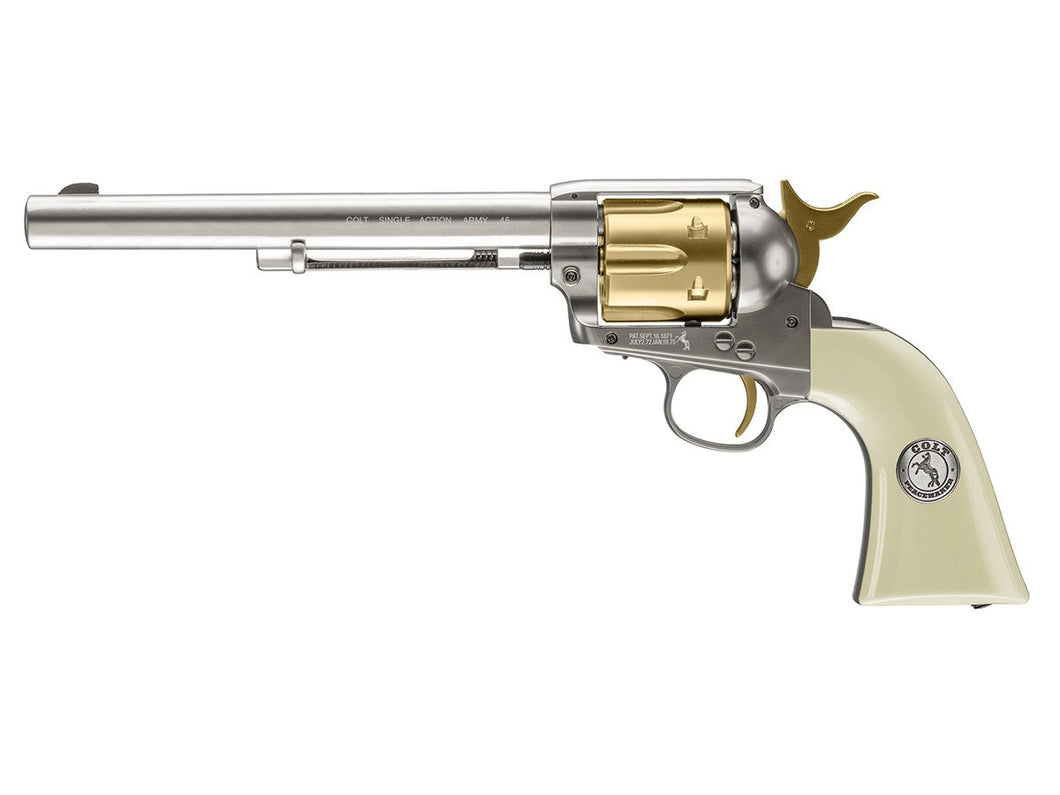 Manufacturer Refurbished Single Action 4.5mm Co2 Airgun Revolver. Gold - Nickel