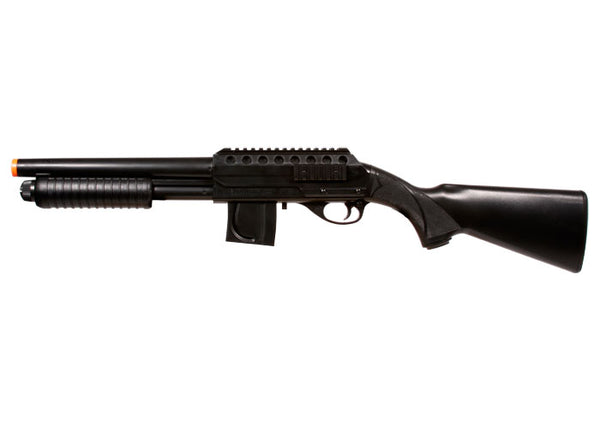 Refurbished Mossberg Tactical Full Stock Pump Airsoft Shotgun. Black