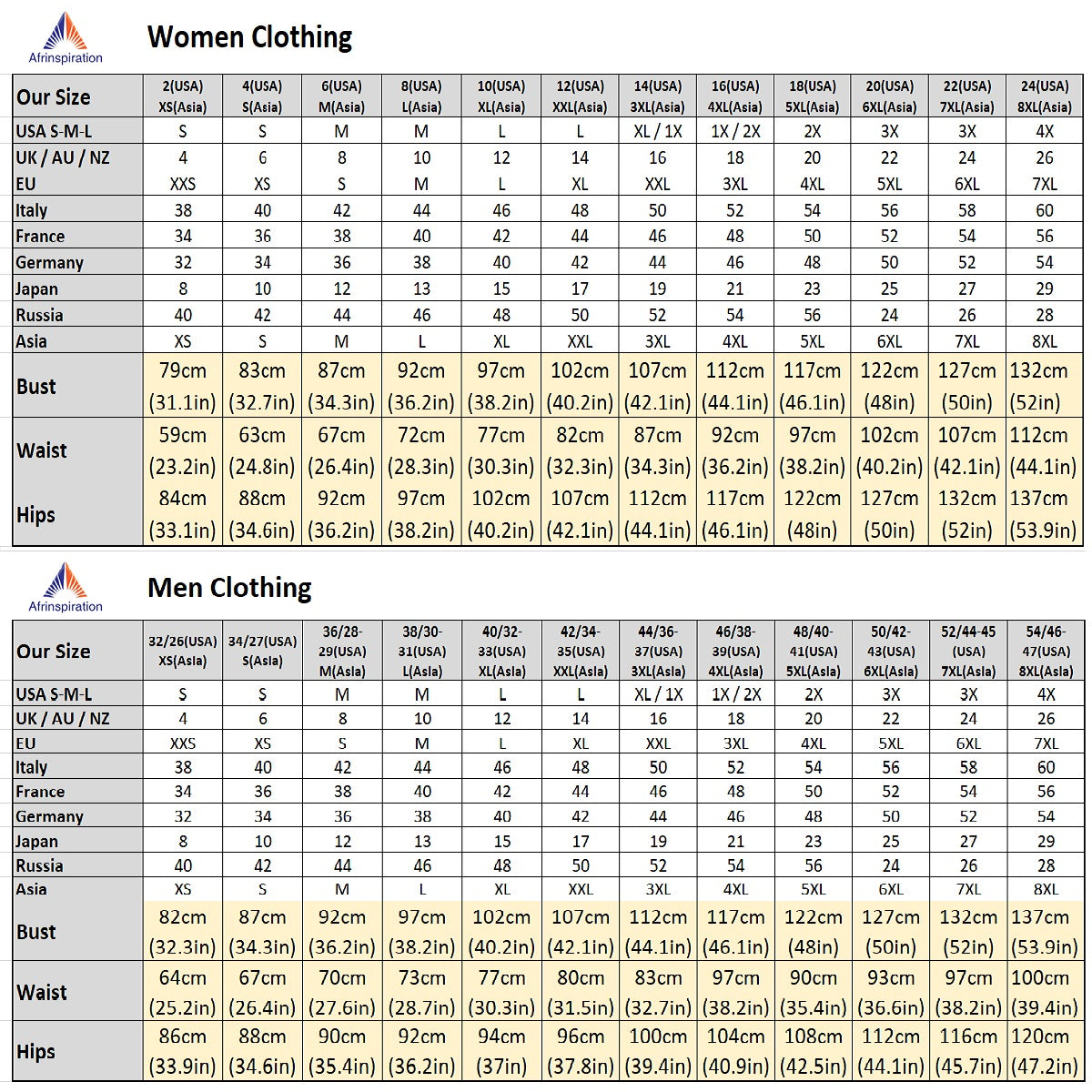 Afrinspiration size chart for couples clothing