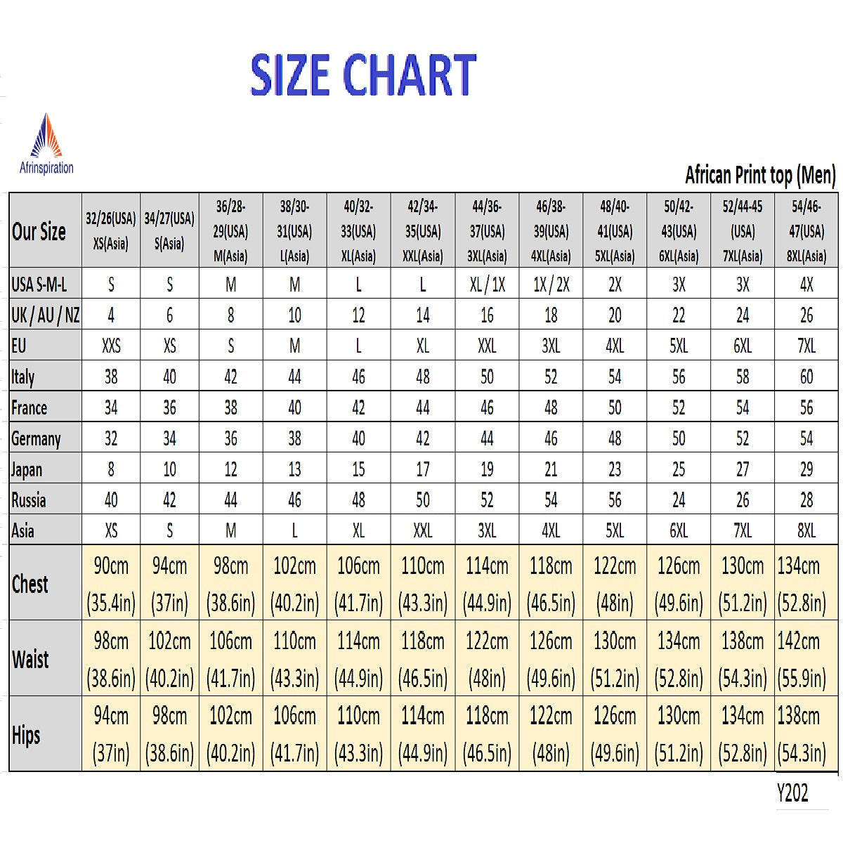 Afrinspiration size chart for men top