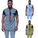 African Men Clothing O Neck Top-Pants 2-Pice Set Dashiki Cotton Y10809