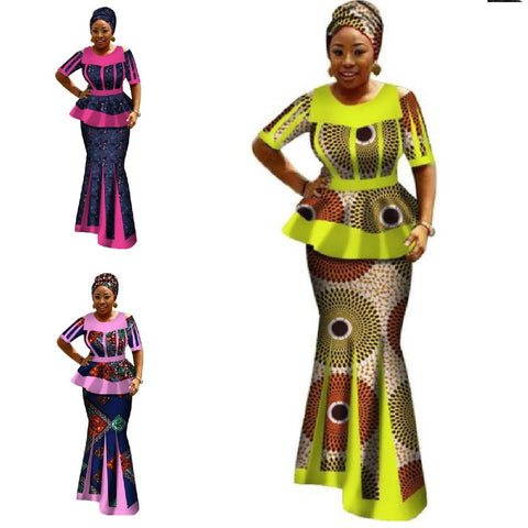 Africa Bazin Riche Dresses For Women 2Pc Women Long Sleeve Tops, Long X11010