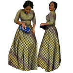2018 African Bazin Dresses For Women African Long Sleeves Dresses For Women In African Clothing Wax Dashiki Fabric 6Xl Brw Wy516 - 2 / M