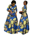 2018 African Bazin Dresses For Women African Long Sleeves Dresses For Women In African Clothing Wax Dashiki Fabric 6Xl Brw Wy516 - 4 / Xl