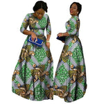 2018 African Bazin Dresses For Women African Long Sleeves Dresses For Women In African Clothing Wax Dashiki Fabric 6Xl Brw Wy516 - 6 / M