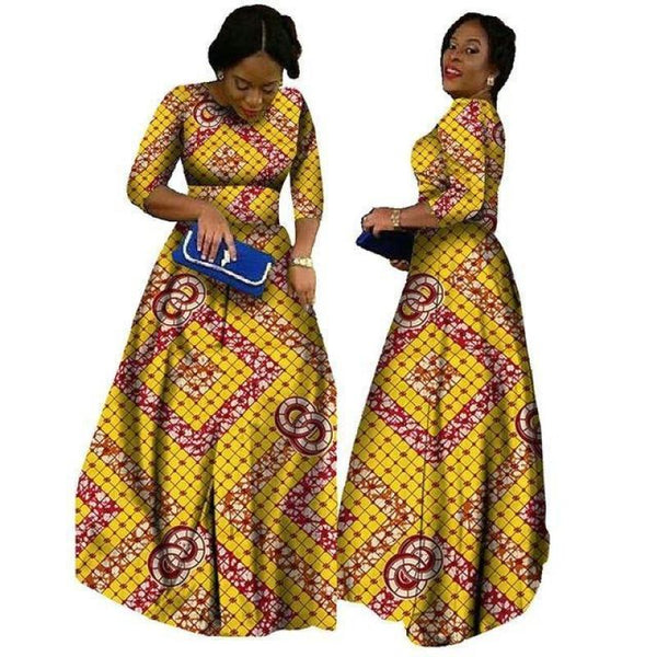 2018 African Bazin Dresses For Women African Long Sleeves Dresses For Women In African Clothing Wax Dashiki Fabric 6Xl Brw Wy516 - 5 / Xl