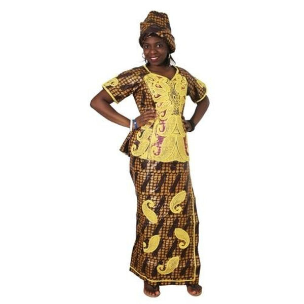2018 African Clothes Bazin Embroidery Dresses Short Rapper With Scarf Three Pcs One Set Africa Femme Africano Vestidos M2599 - Orange / 4Xl