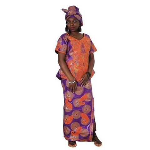 2018 African Clothes Bazin Embroidery Dresses Short Rapper With Scarf Three Pcs One Set Africa Femme Africano Vestidos M2599 - Purple / M
