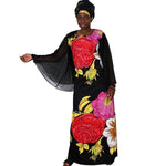 2018 African Dresses For Women Plus Size Africa Clothes Print Floral Beading Bazin Riche African Clothing Long Mesh Robe Femme
