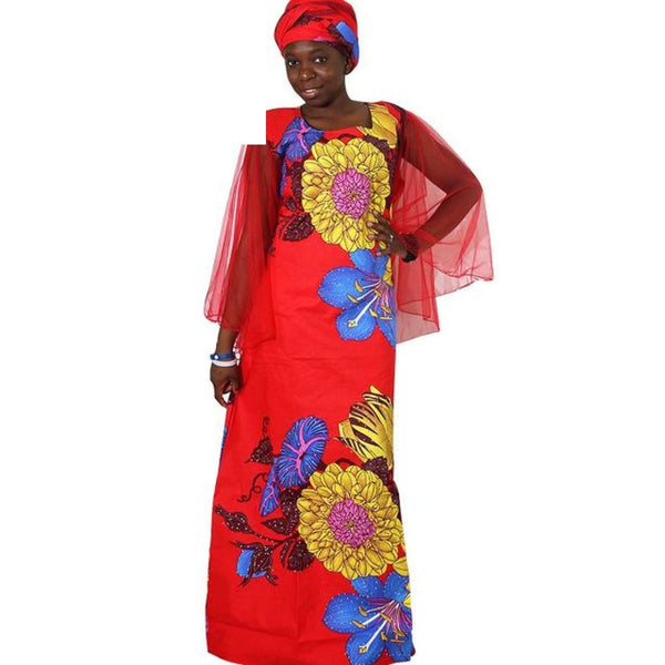 2018 African Dresses For Women Plus Size Africa Clothes Print Floral Beading Bazin Riche African Clothing Long Mesh Robe Femme - Red / M