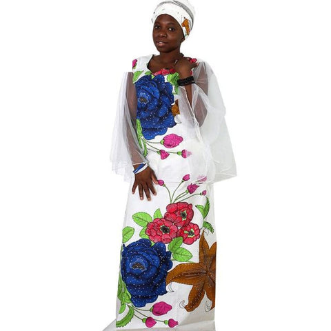 2018 African Dresses For Women Plus Size Africa Clothes Print Floral Beading Bazin Riche African Clothing Long Mesh Robe Femme - White / M
