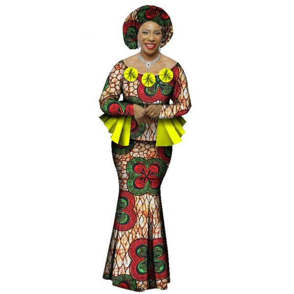 2018 Autumn African Skirt Set For Women Dashiki 2 Piece Sets African Clothes Elegant Traditional African Clothing Wy1066