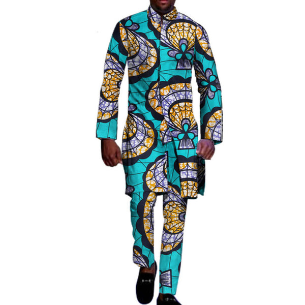 African Clothing For Men 2 Piece Top Pants Ankara Dashiki Cotton Print Y10858