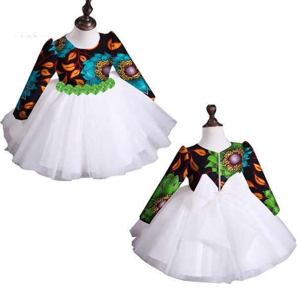 2018 New Summer Africa Children Clothing Dashiki Cute Girls Dresses Bazin Riche Sweet African Traditional Clothing Wyt115