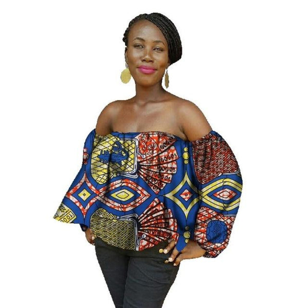 2018 New Summer Women African Tops Print Wax Cotton Shirt Plus Size Africa Sexy Womens Shirts 6Xl
