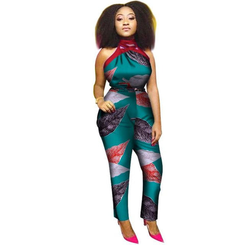2018 Summer Africa Cotton Wax Print Romper African Bazin Riche Sexy Jumpsuit For Women Dashiki Hanging Neck Jumpsuit Wy19988 - 19 / Xl