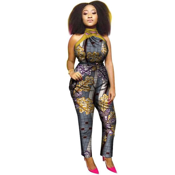 2018 Summer Africa Cotton Wax Print Romper African Bazin Riche Sexy Jumpsuit For Women Dashiki Hanging Neck Jumpsuit Wy19988