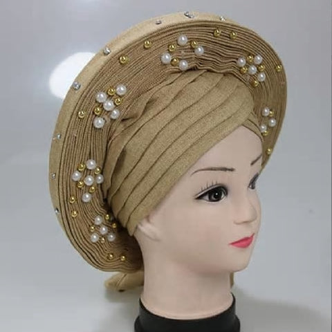 African Aso Oke Auto Gele Already Made Nigerian Headtie with Q11720