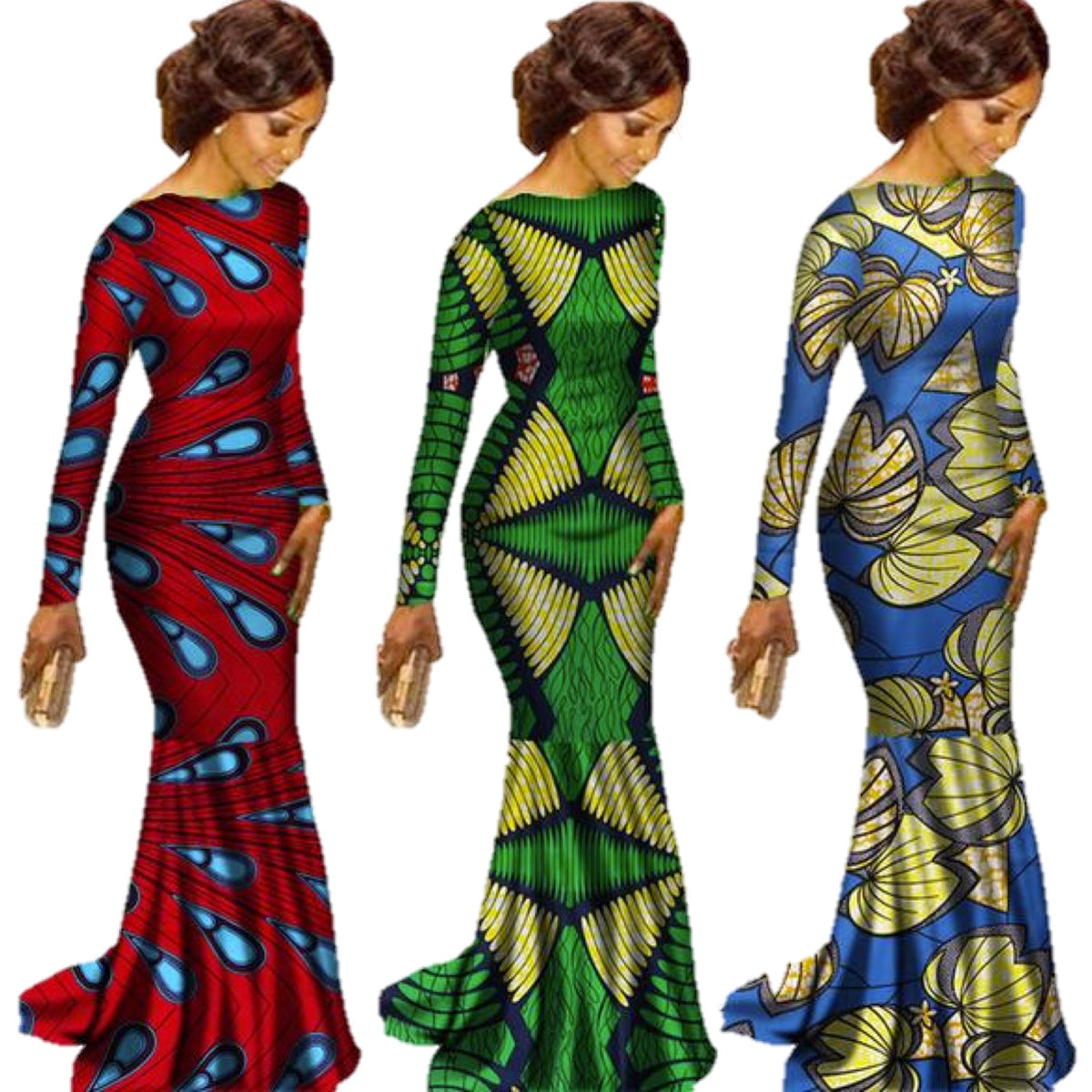African Print Fashion: African Clothing Ankara Dashiki Kanga Long-Sleeve Dress
