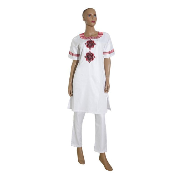 Women Dashiki Soft Fabric White or Black Top-Pants Set With Embroidery X20654