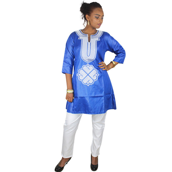 Women Dashiki Soft Fabric White Pants Blue Top With White Embroidery X20669