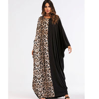 South African Bat Sleeve Loose Maxi Dress Navy Blue moroccan X40364