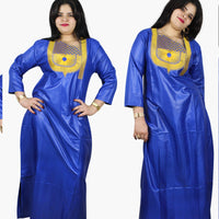 African Clothing Women Dashiki Bazin Traditional Dashiki Blue Dress Gold X21176