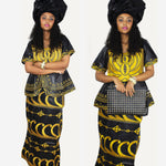 African Dress For Woman Embroidered Bazin Riche Design Top-Wrapper-Scarf X20922