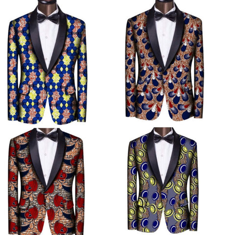 Ankara African Print Custom Made Shawl Collar Suit Jacket For Men Y10541