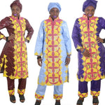 Women Dashiki Bazin Cotton Long Top-Pants-scarf with Gold Embroidery X20661