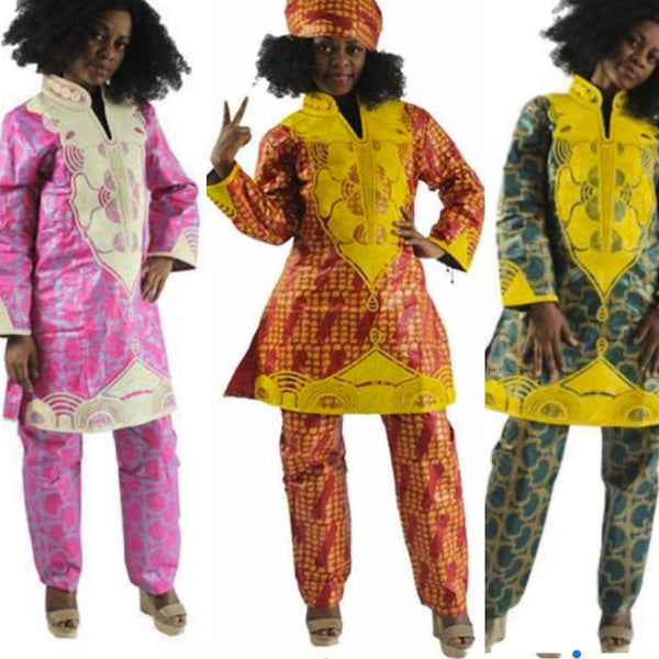 Women Dashiki Batik Bazin Brocade Top-Pants-scarf with Gold Embroidery X20664