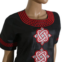 Women Dashiki Soft Fabric Black White Top-Pants Set With Red Embroidery X20660