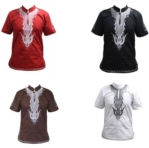 Vintage African Clothing Embroidered Dashiki Casual Short Sleeve T-Shirt Y20466