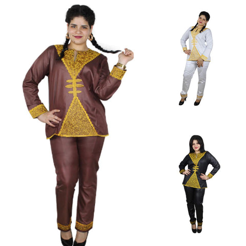 Women Dashiki Brown Black White Top-Pants with Gold Embroidery X20631