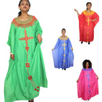 African Dresses For Women Chiffon Cloth with Embroidery Design Long Free X21173
