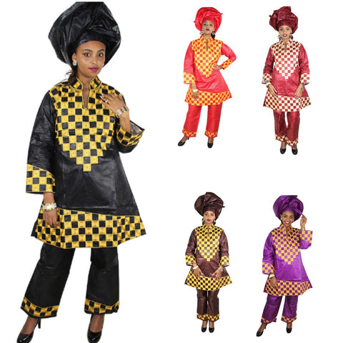 African Ladies Embroidered Bazin Dashiki Clothing Top-Pants-Scarf X20620
