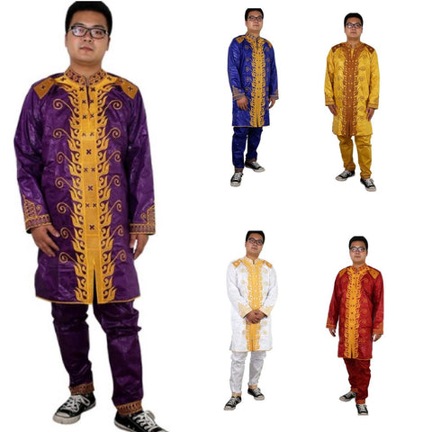 African Men Kaftan Traditional Embroidery Bazin Riche Top with Y20745