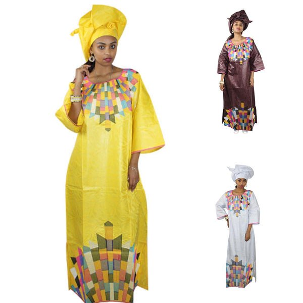 African Clothing Women Dashiki Bazin Traditional Long Dress Yellow Brown X21302