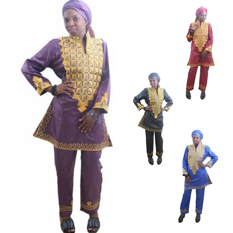 Women Dashiki Red Blue Purple Black etc Top-Pants with Gold Embroidery X20640
