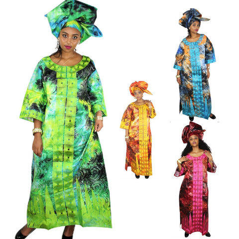 Dashiki Clothing For Woman Bazin Riche Cotton Design Embroidery Dress X21299