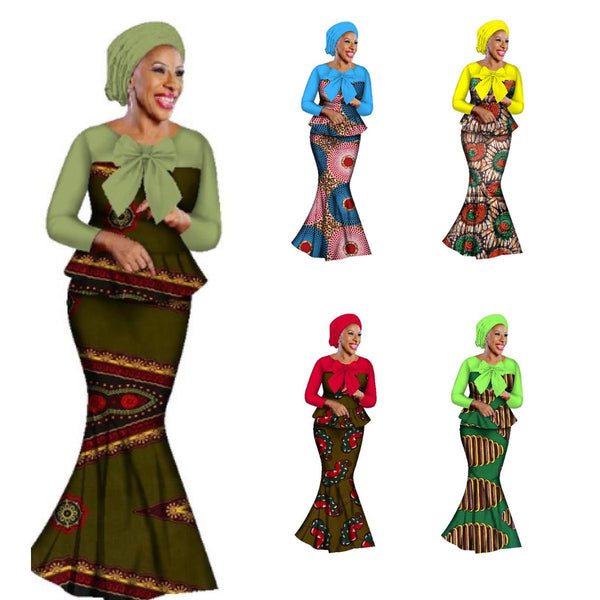 African Women Blouse-Skirt Set Mix Plain-Print Cotton Wax with Head-Wrap X11036