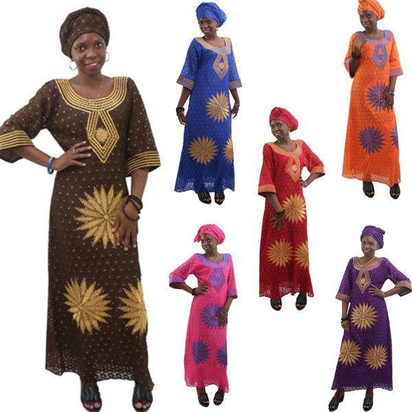 African Clothing Embroidered Bazin Custom Clothing Dashiki Women Design X21307