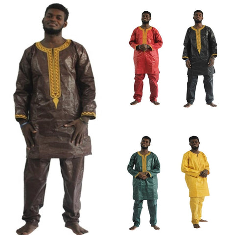 African Clothing For Men Embroidery Dashiki Bazin Riche Tops with Pants Y20747
