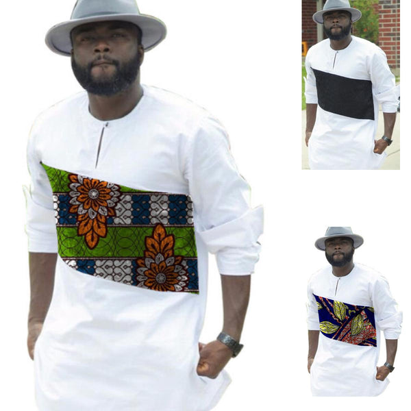 Custom Dashiki Kitenge Wax Print White And Prints Patchwork Long  Y10499