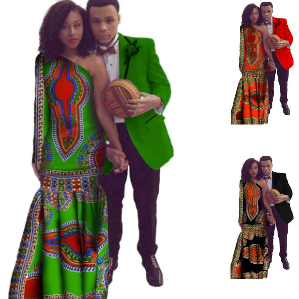 African Dresses For Couples Women Vintage Maxi Dress Slim Fit Mens Blazer V11683