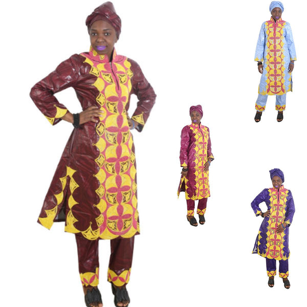 Women Dashiki Batik Brocade Long Top-Pants-scarf with Gold Embroidery X20649