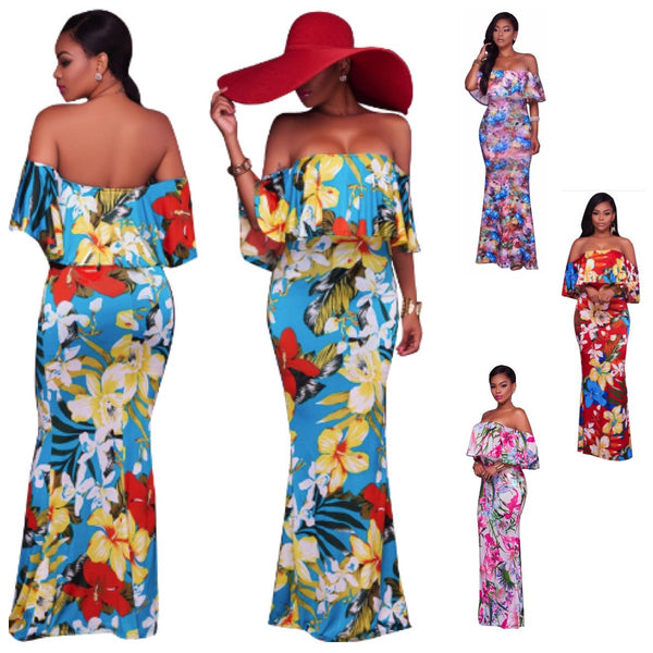New Casual Slash Neck Pattern Floral Women Maxi Dresses Off The X40341