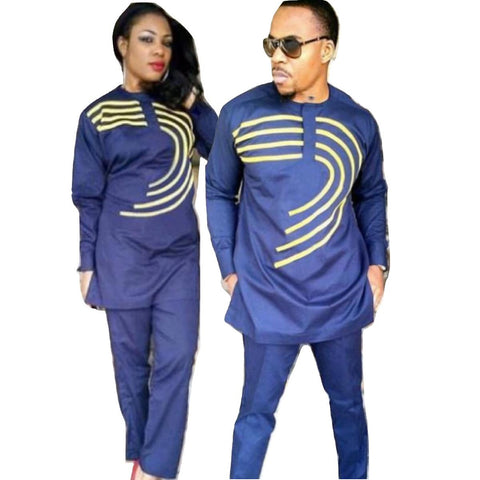 African Couple Lady and Man Same Design Soft Material Embroidery Top with V21625