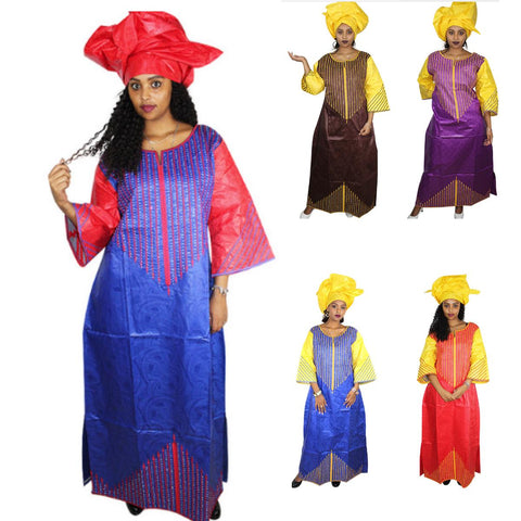 African Clothing Bazin Riche Embroidery Design Dashiki Long Dress Caftan X21290