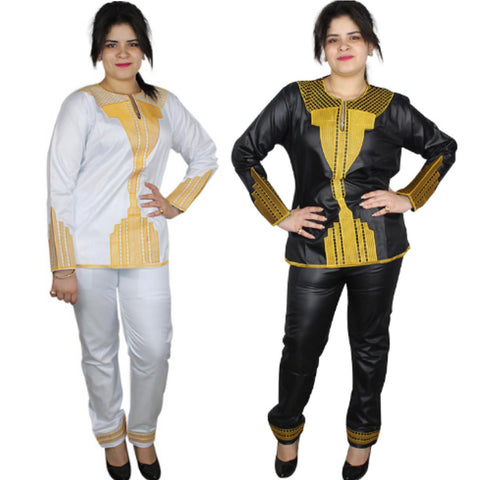 Women Dashiki Black or White Top-Pants with Gold Embroidery X20637